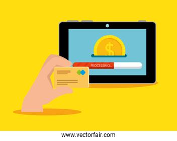 hand with credit card and electronic tablet technology