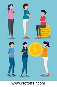 set of women with coins to business online banking