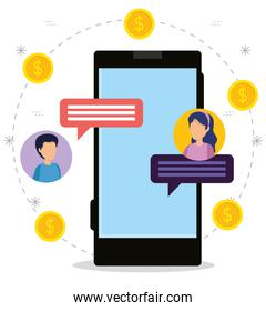 smartphone with women and men chat bubble about money