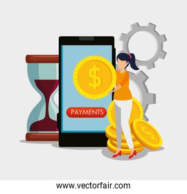 woman with smartphone and digital coin with hourglass and gears