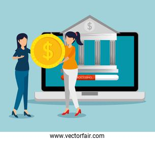 laptop with digital bank and women with coin