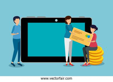 women with credit card and man with tablet technology