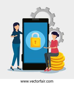 smartphone with padlock security and women with coins