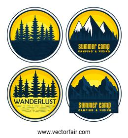 set of labels with wanderlust landscape and nature adventure