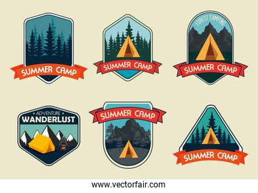 set of labels with wanderlust adventure with camping and hiking