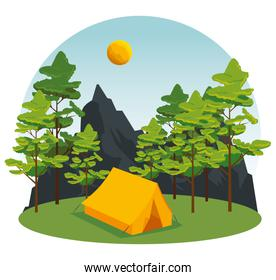 wanderlust with trees and mountains to camp landscape