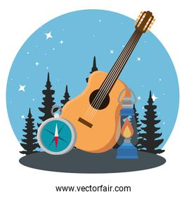 wanderlust adventure with pines trees and guitar to camping