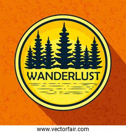 label of nature pines trees landscape
