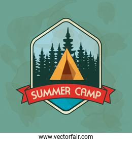 label of camp with nature pines trees and ribbon