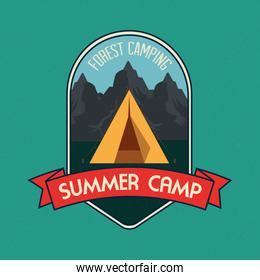 label of camp with nature mountains and ribbon