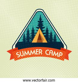 label of camp with pines trees and ribbon