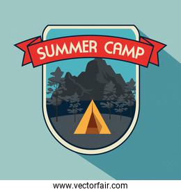 label of camp with nature trees and mountains