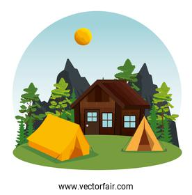 cabin and camp with nature landscape explore