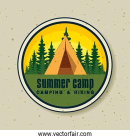 label of camp with pines trees explore