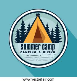 label of nature pines trees and camp