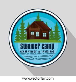 label of cabin and nature pines trees