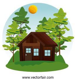 nature landscape with cabin and trees with sun