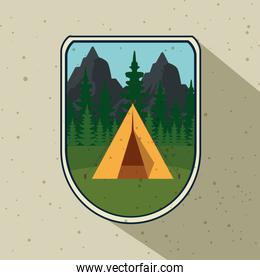 label of camp with pines trees and mountains
