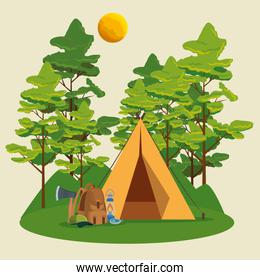 nature trees with mountains landscape and camp