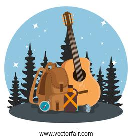 nature pines trees landscape with backpack and guitar