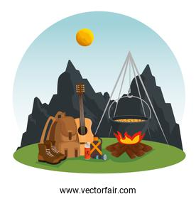 mountains landscape with guitar and firewood food