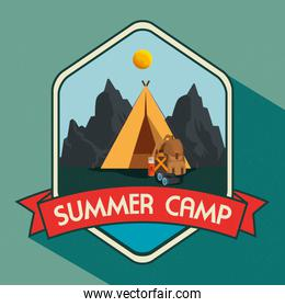 label of nature mountains landscape with camp and ribbon