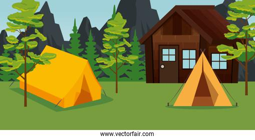mountains with trees and cabin with camp in the landscape