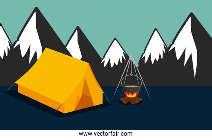 nature snowy mountains with camp and firewood food