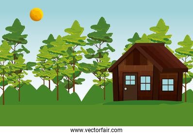 nature mountains with trees landscape and cabin