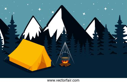 nature snowy mountains with pines trees and camp
