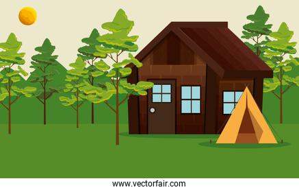 nature trees landscape with cabin and camp