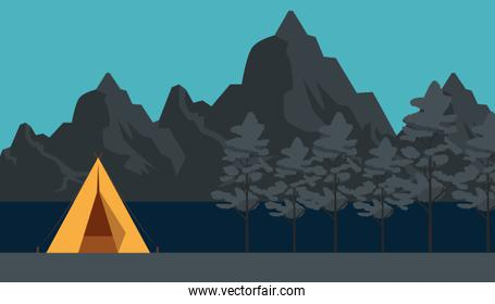 camp with nature trees and mountains landscape