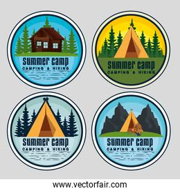 set of labels with cabin and camp to summer adventure
