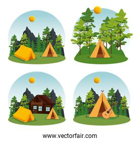 set of camp and cabin with nature landscape