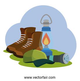 boots with lamp and cap to nature camping