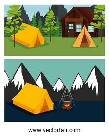 set of cabin and camp with trees and mountains