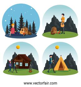 set of woman and men camping in the nature landscape