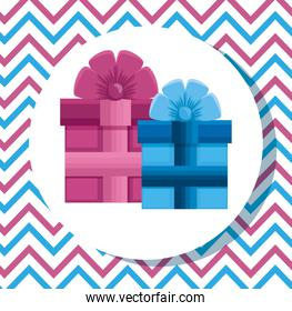 label of pink and blue presents decoration