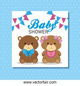 banner of teddy bears with party banner decoration