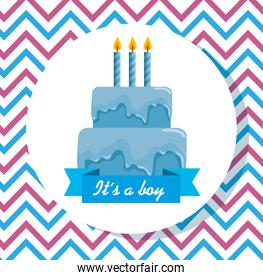 label of blue cake with candles and ribbon decoration