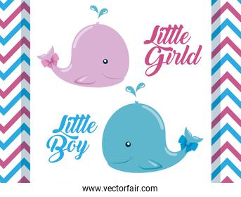 pink and blue whale with little boy and girl celebration