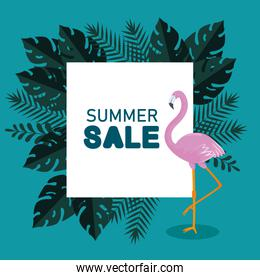 summer sale with flamish and exotic leaves
