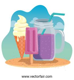ice cream and ice lolly with smoothie beverage