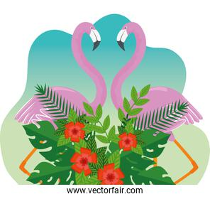 tropical flamingos with exotic flowers and leaves