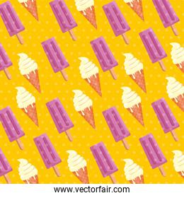 sweet ice cream and ice lolly background