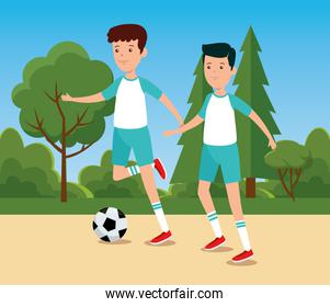 boys practice soccer exercise activity