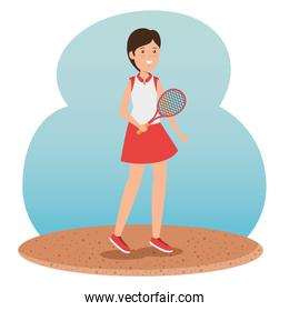 girl practice tennis with uniform and racket