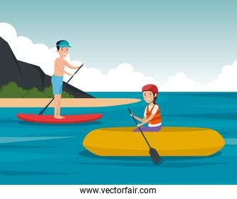 boy practice paddle board and girl canoeing