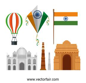 set of happy independence day holiday decoration