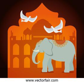 poster of taj mahal with elephant and doves decoration